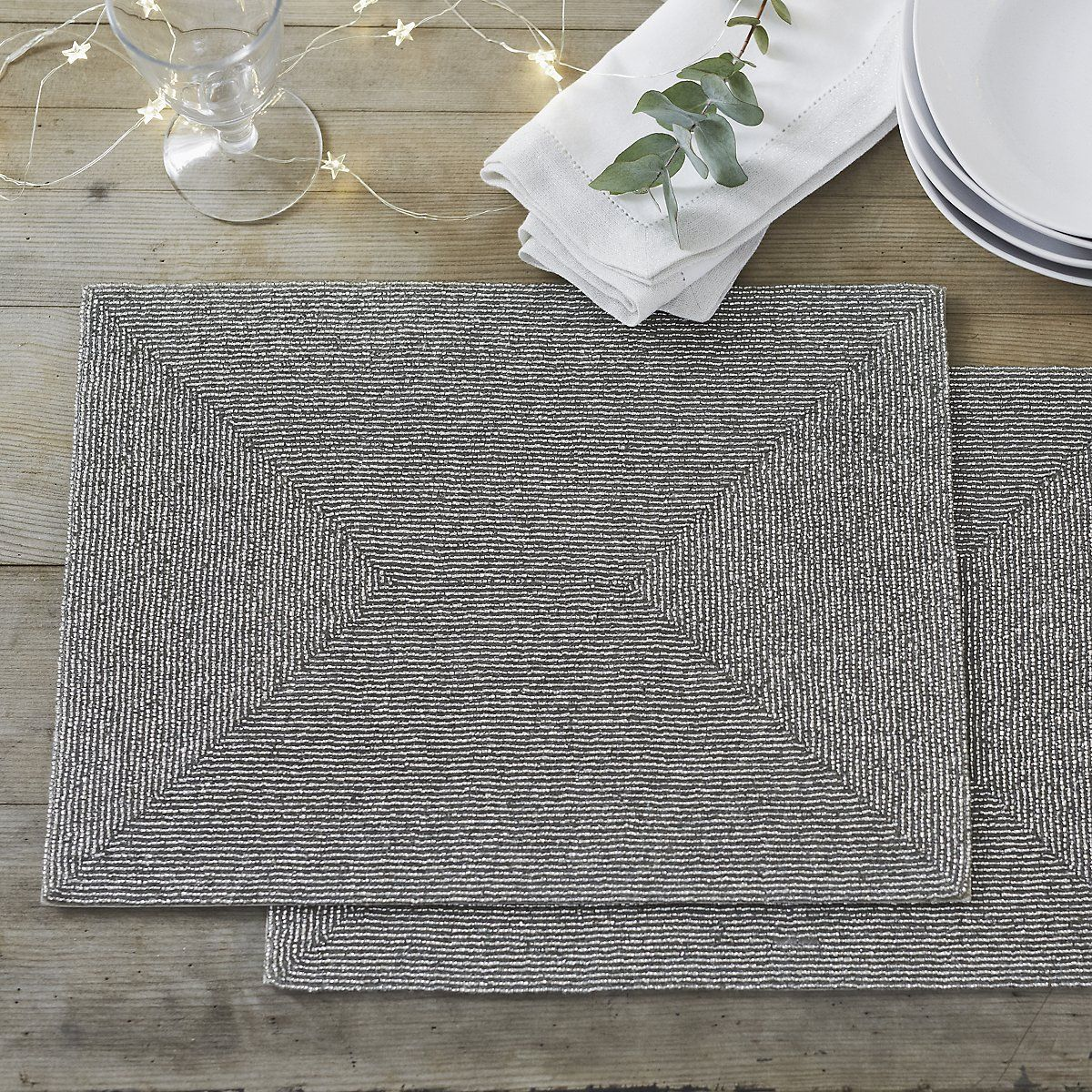 Glass Beaded Placemats Set of 2 Home Accessories Sale