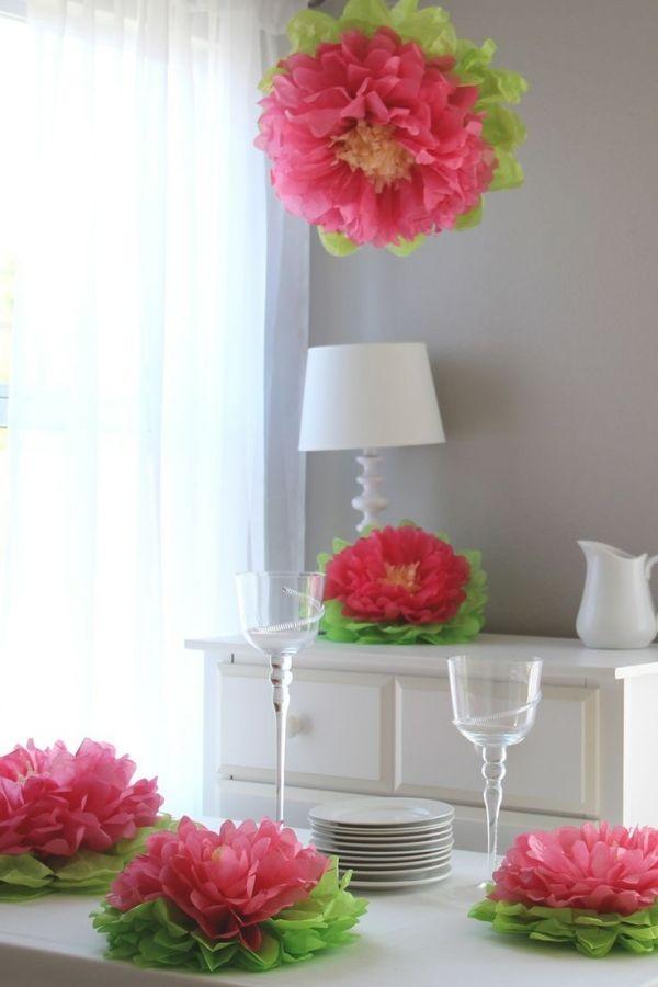 blumen muttertag basteln ideen tischdeko seidenpapier lilien 1. Black Bedroom Furniture Sets. Home Design Ideas