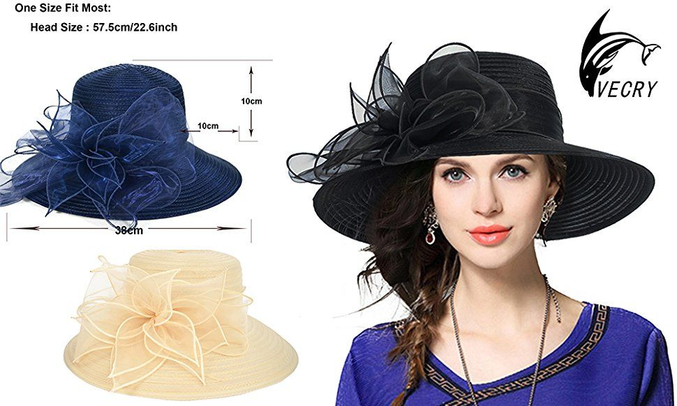 49a65371f6c VECRY Kentucky Derby Dress Church Cloche Hat Sweet Cute Floral Bucket Hat  (Orange) at Amazon Women s Clothing store