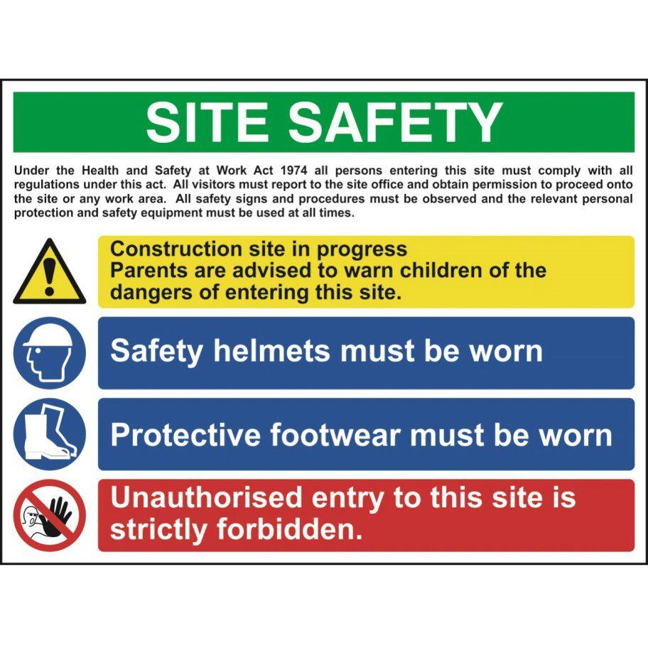 Multi Purpose Construction Site Sign 1, 4 Messages PVC
