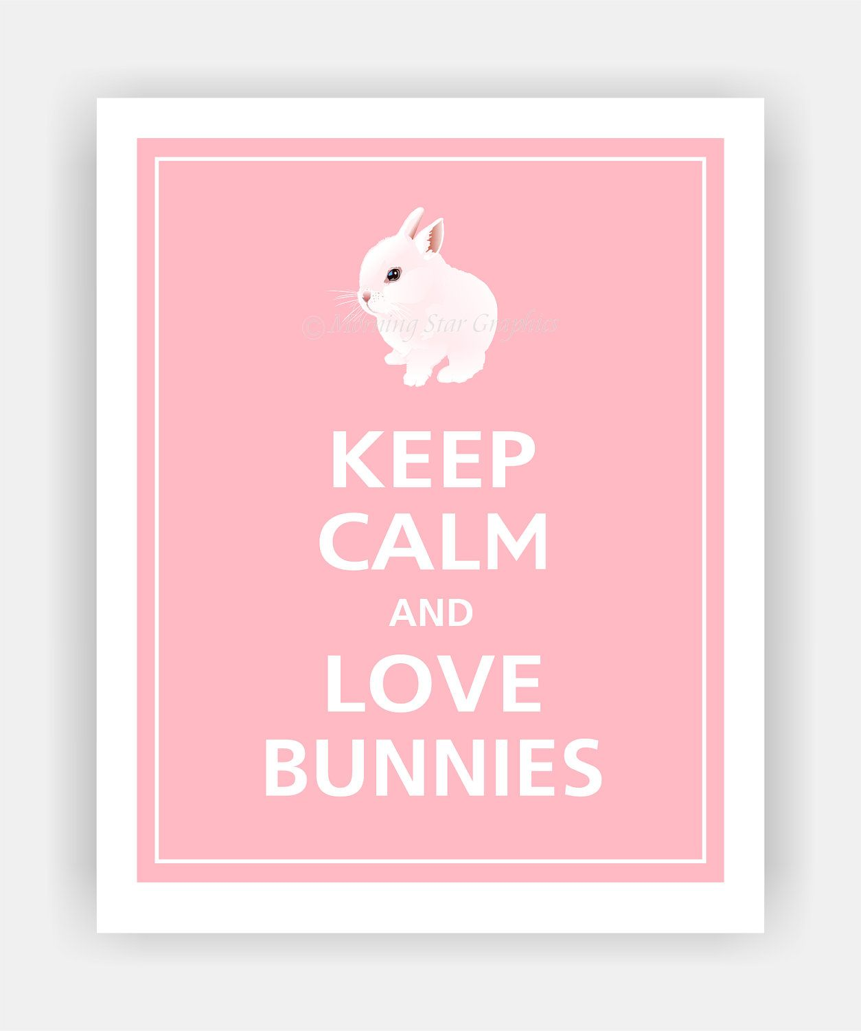 keep calm and love bunnies cute baby bunny print 8x10 by posterpop