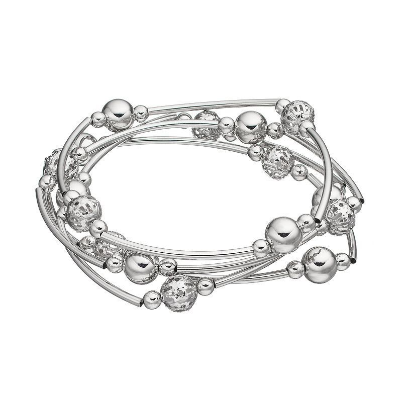 Beaded & Curved Tube Stretch Bracelet Set, Silver