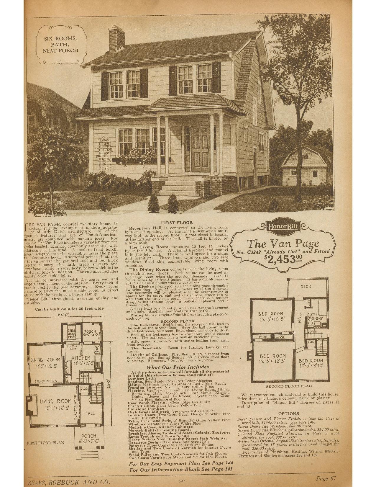 Sears Van Page 1926 P3242 1927 1928 Dutch Colonial Homes Vintage House Plans Garage Exterior