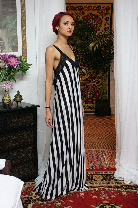 Black And White Stripe Backless Dress Nightgown Classic Lingerie