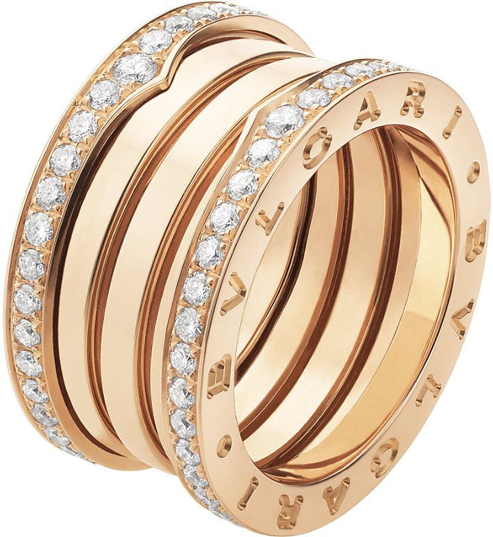 e4c67d29264 Bvlgari B.zero1 Four-Band 18kt Pink-Gold and Diamond Ring