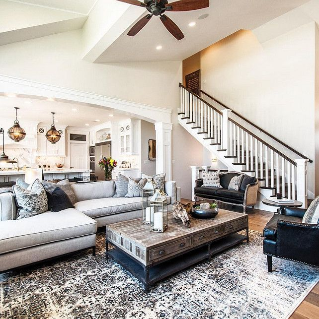 54 Awesome Big Living Room Design Ideas With Stairs images