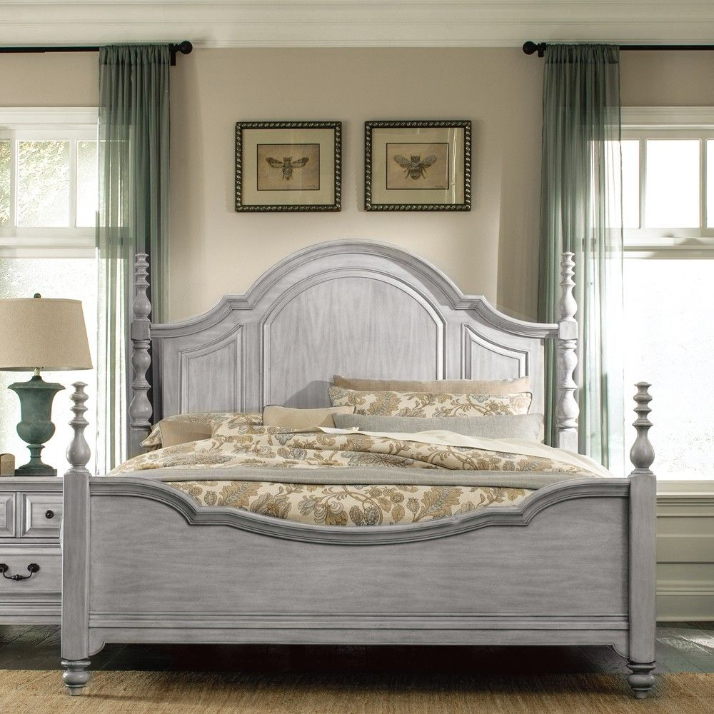 Windsor Lane Wood Poster Bed In Weathered Grey By
