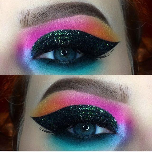 "@makeupstore glitters • ""rocket"" & ""eclipse"" @inglotireland shadow ""372"" • gel liner ""no.77"" @maccosmetics ""aqua"" ""plummage"" @patmcgrathreal ""iridescent pink highlight"" @morphebrushes ""35B palette"" @houseoflashes ""pixie luxe"" lashes @anastasiabeverlyhills brow wiz ""taupe"" @urbandecaycosmetics ""tonic"""