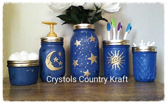 Celestial Bathroom Set Moon Stars Sun Bathroom Decor Etsy Gold Bathroom Set Bathroom Themes Diy Bathroom