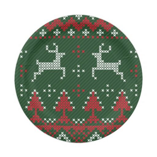 Reindeer Funny Christmas Ugly Sweater Paper Plates 7 Inch Paper Plate