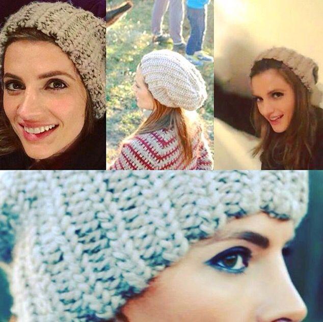 Stana in her cute hat.