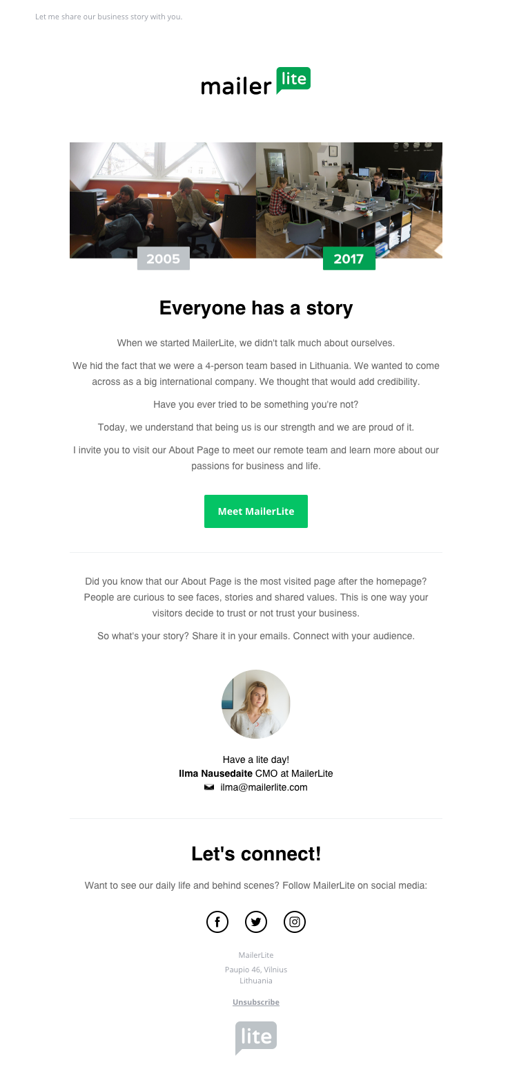 MailerLite sent this email with the subject line: Meet ...