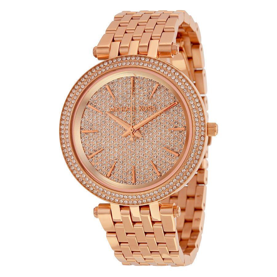 badb89a6afc8 NWT MICHAEL KORS Rose Gold Darci Glitz Swarovski Crystal 39mm Watch MK3439
