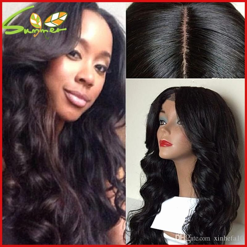 Glueless Full Lace Wigs For Black Women Elastic Cap Human Hair Wig Body  Wave Pre-Plucked Natural Hair Line 51f68a98d9