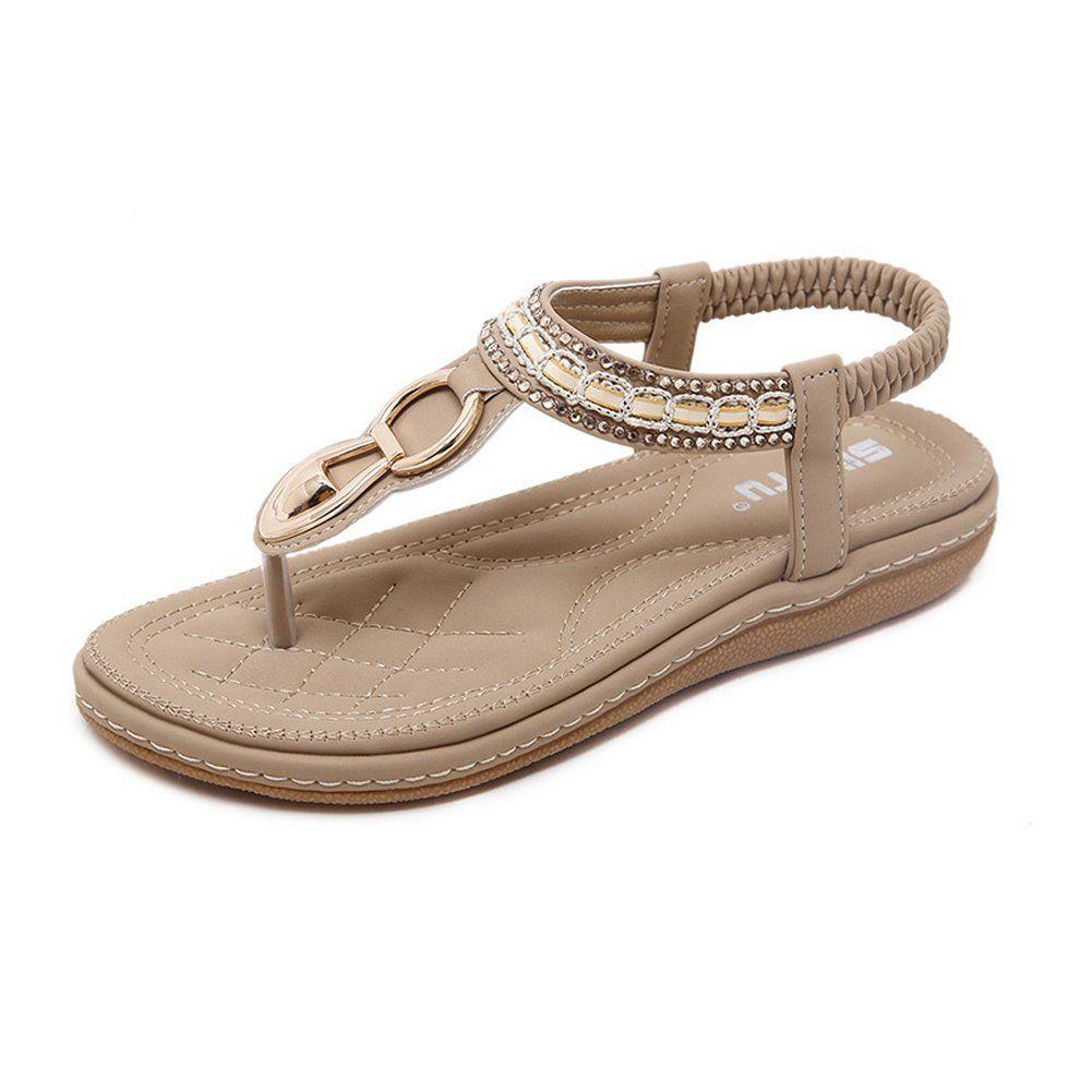 Bohemia Womens Beach Slippers Flip Flops Flat Sandals Comfy Thong Shoes Clip Toe