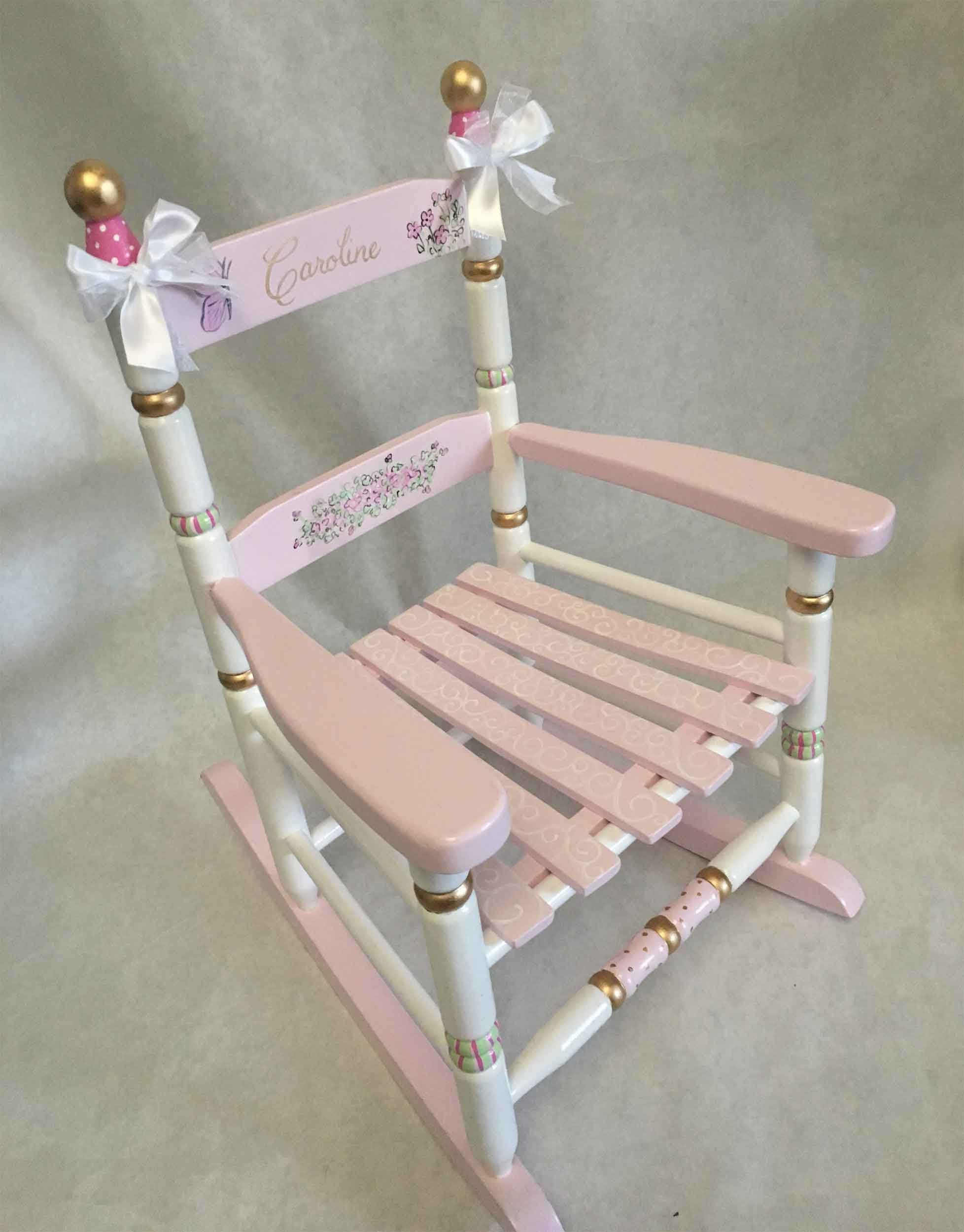 Remarkable Childs Rocking Chair Hand Painted Rocking Chair Painted Short Links Chair Design For Home Short Linksinfo