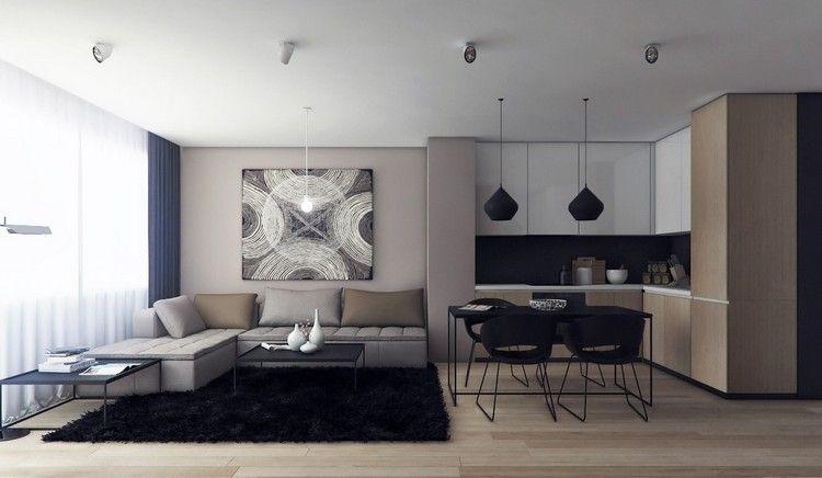 inspiration cuisine bois et blanc, canapé du0027angle en cuir gris taupe - salon d angle de jardin