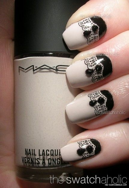 black lace and rhinestone nails