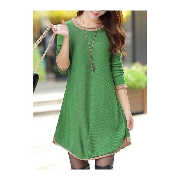0482ba39616b Rotita Green Round Neck Long Sleeve Sweater Dress ( 36) ❤ liked on Polyvore  featuring dresses