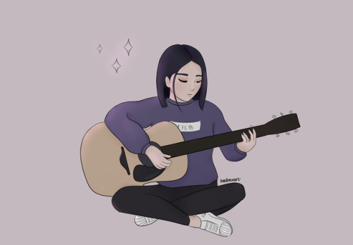 Guitar Aesthetic Girls Cartoon Art Anime Scenery Wallpaper Art Music