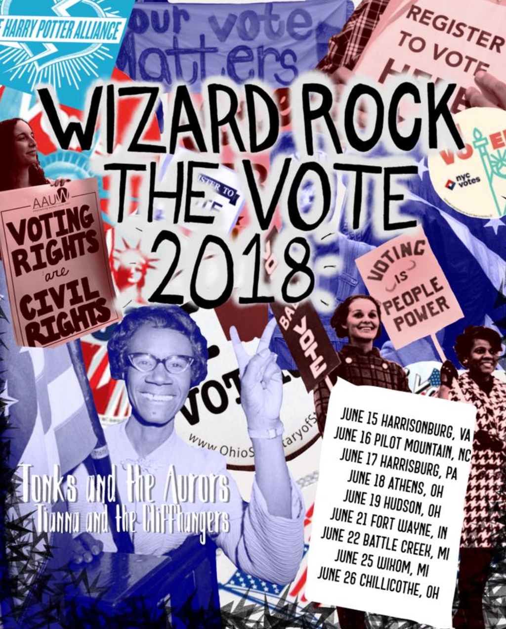 This Summer Let S Wrock We Are Thrilled To Partner W Tonks The Aurors And Tianna The Cliffhangers To Bring You Wizard Rock The Rock The Vote Wizard Vote