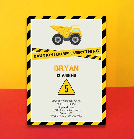 INSTANT DOWNLOAD - Construction Invitation Card - Editable Pdf - download invitation card