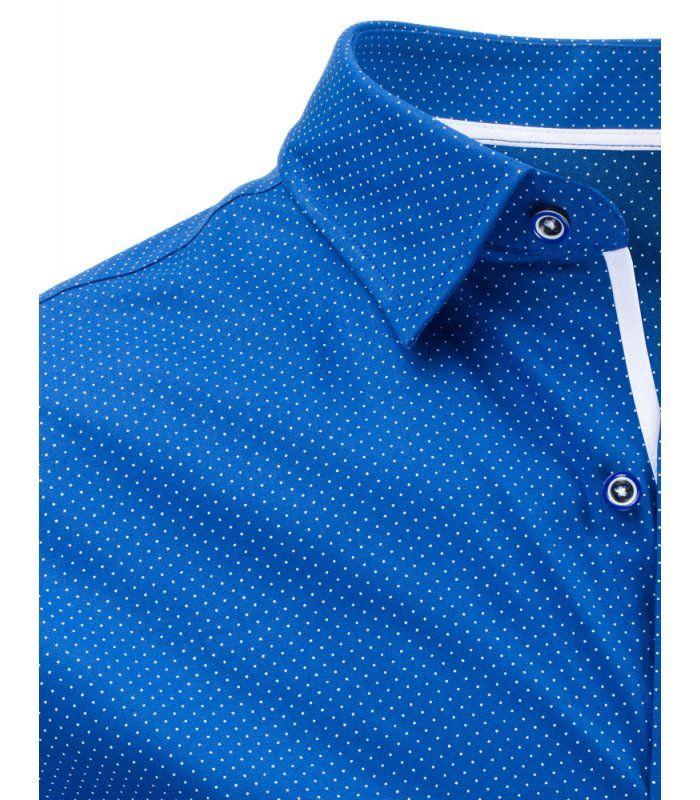 07518f77156f Modrá vzorovaná elegantná košela s krátkymi rukávmi
