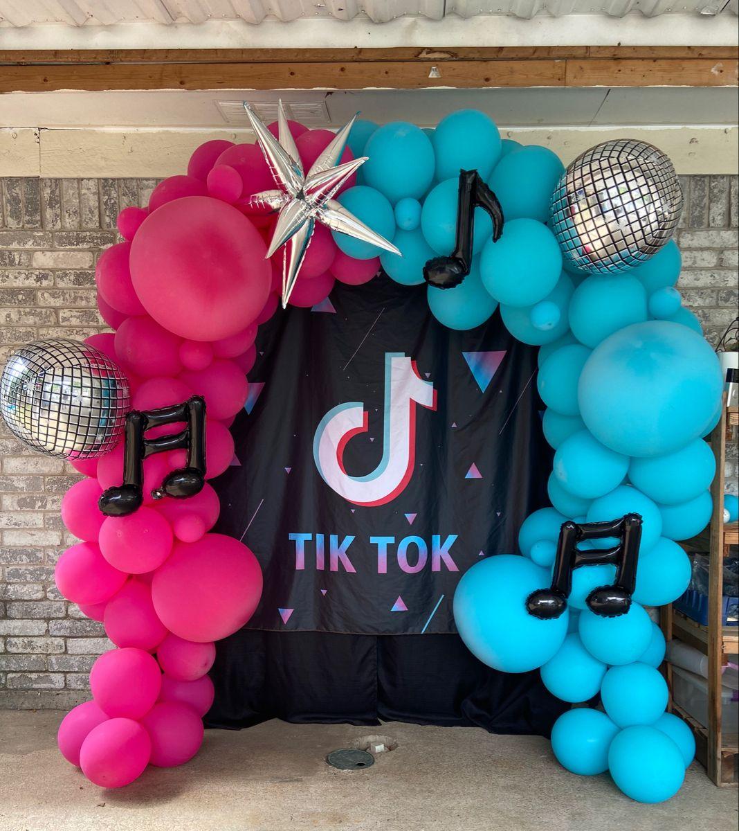 Tiktok Ballon Backdrop With Music Notes Disco Ball And Starburst Balloons Tiktok Balloon Girls Tea Party Birthday Birthday Party Favors Tea Party Birthday
