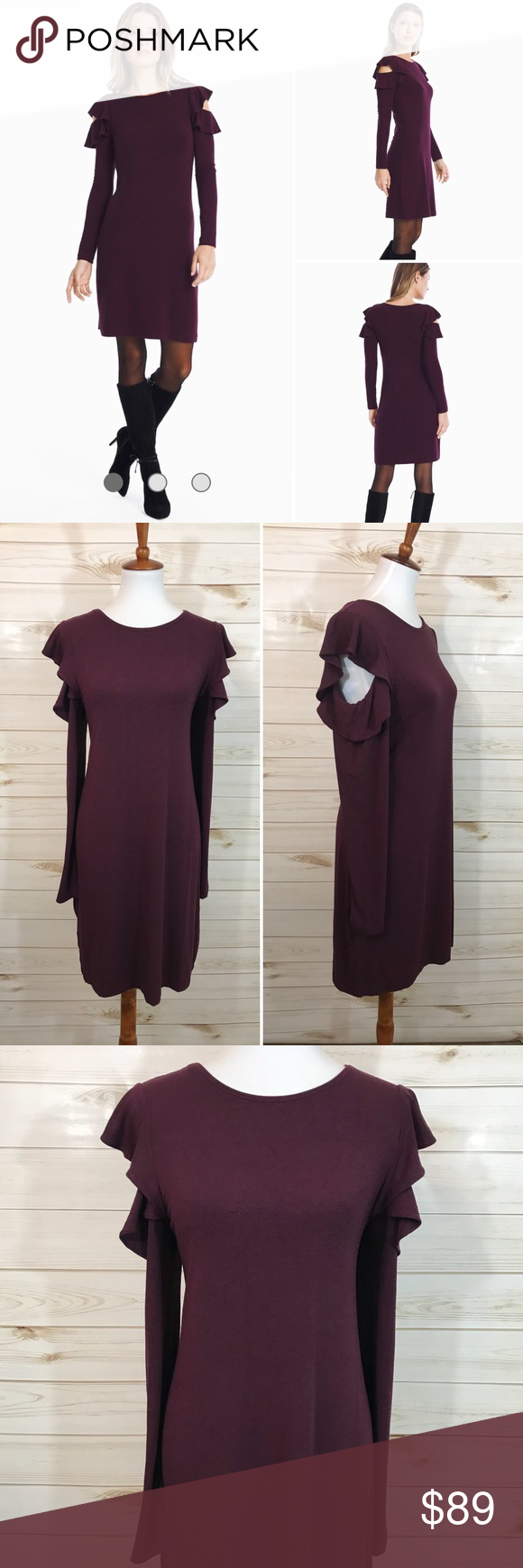Whbm long sleeve ruffle cold shoulder dress nwt dress brands