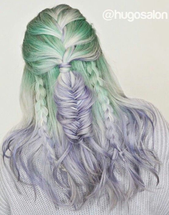 Purple green braided dyed hair color @hugosalon | Dyed ...