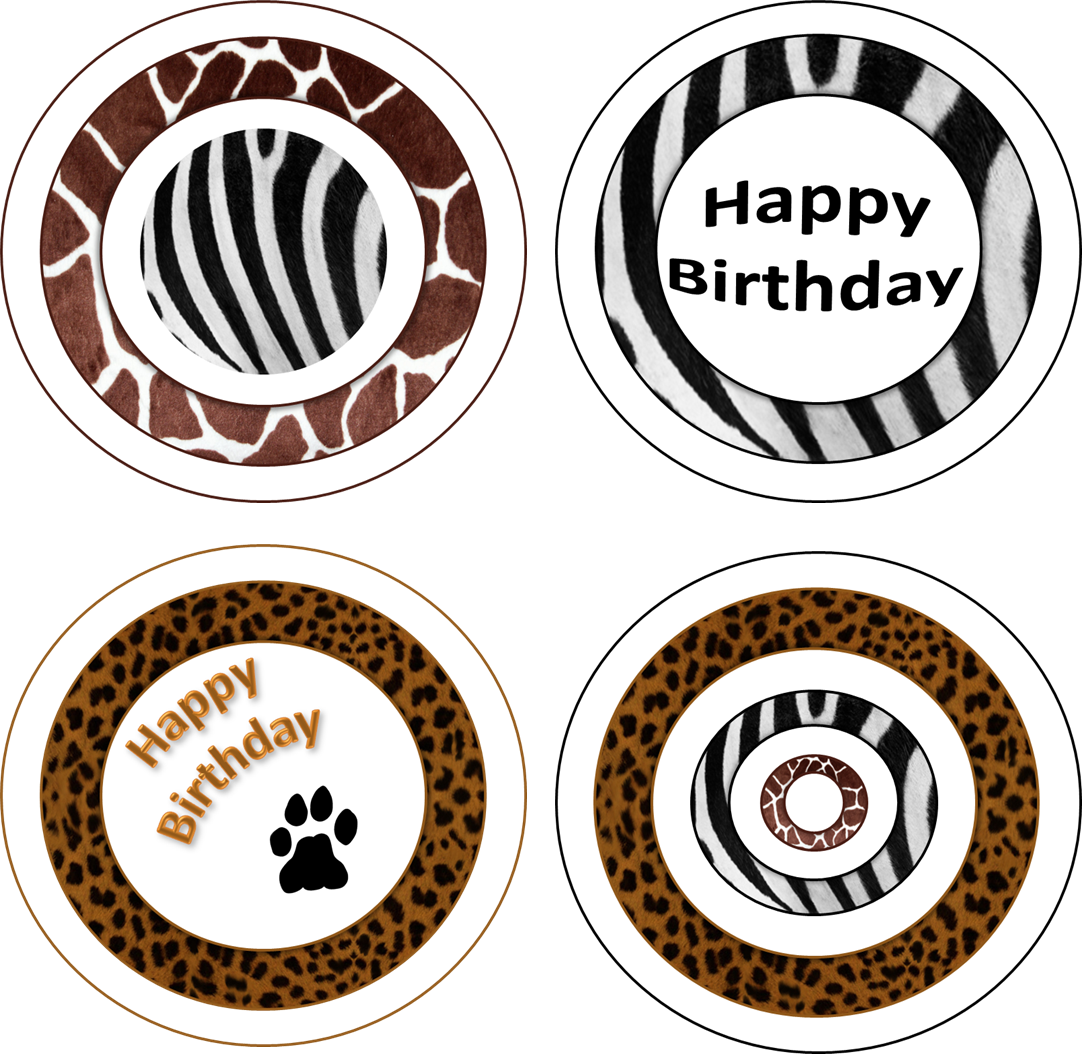 Animal Print Cupcake Toppers With Images Birthday Party Set
