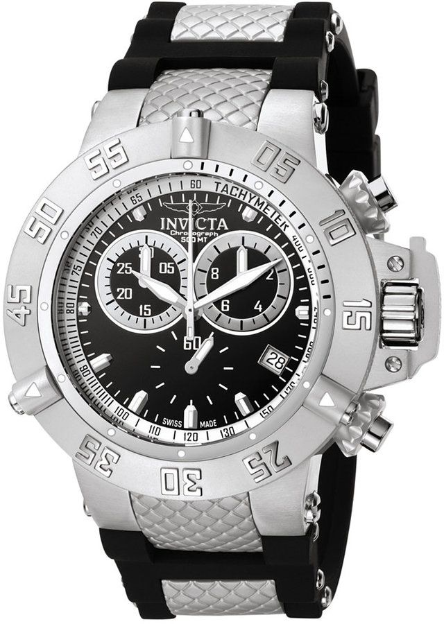 8c8056da8fd5 Invicta Men s Swiss Chronograph Subaqua Black Silicone and Stainless Steel  Bracelet Watch 50mm 5511