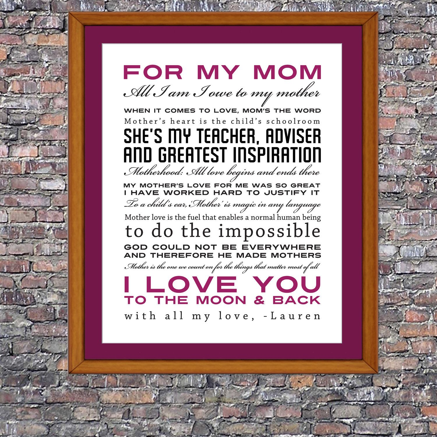 Love Quotes On Canvas Mother's Day Quotes Custom 8 X 10 Canvas  Madri Ti Amo E Festa