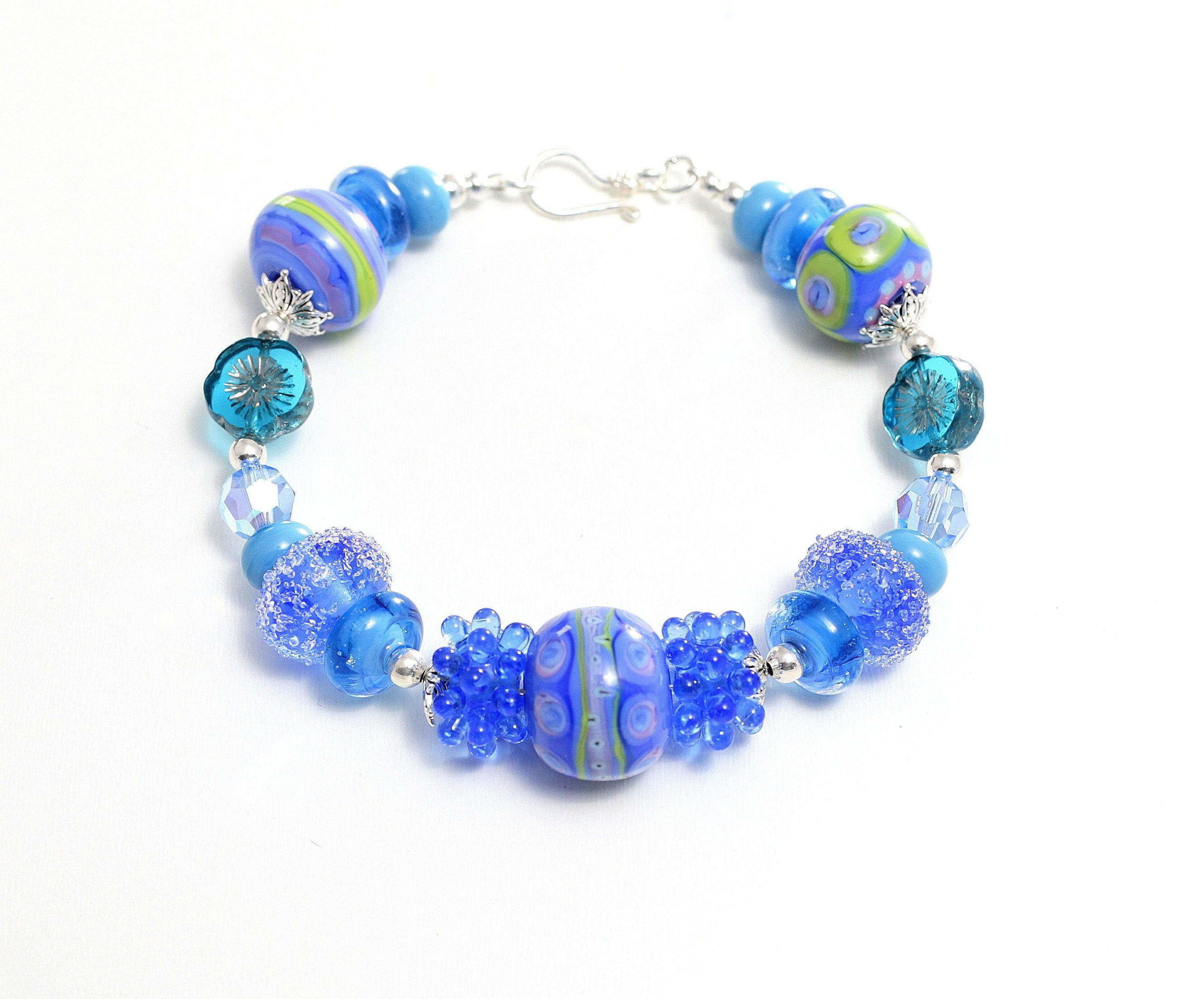 Shades of Blue Lampwork Necklace with Sterling Silver Claps and Accents
