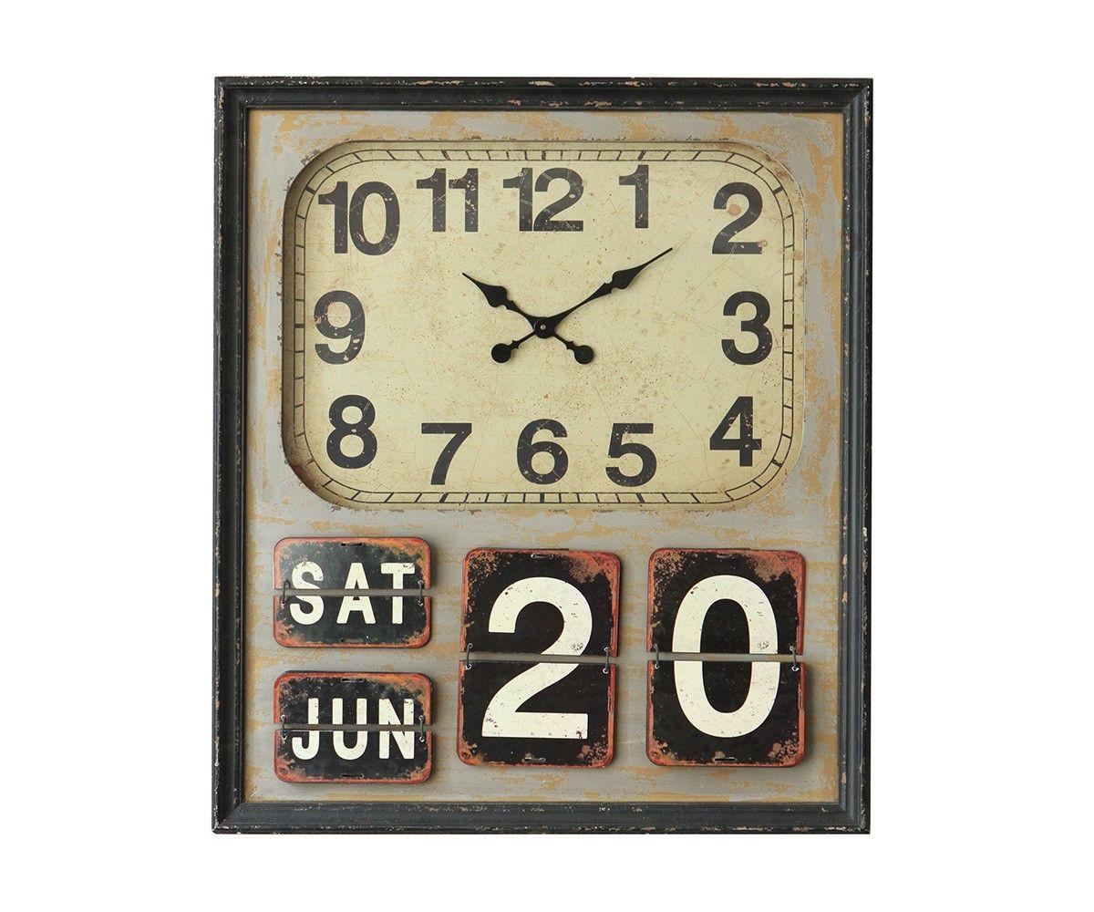 Wanduhr Pumila 78x90 cm Braun mit Kalender Used Optik