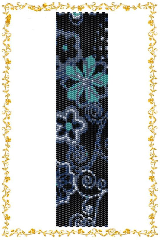 """Beading pattern Bracelet """"Turquoise flower"""". Even count 2 drop peyote stitch. Seed bead pattern. Instant Download. Pattern PDF."""