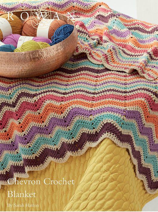 Chevron Crochet Blanket by Sarah Hatton in Rowan Handknit Cotton DK: http://www.mcadirect.com/shop/rowan-handknit-cotton-dk-p-31.html
