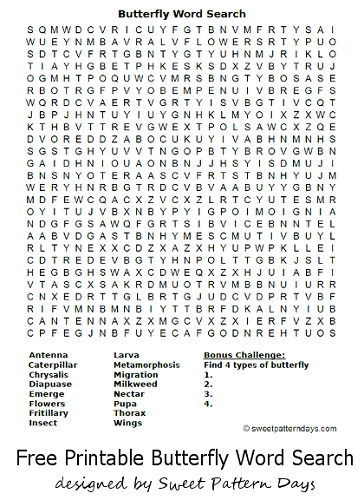 Butterfly Word Search Butterfly Nature Games Butterfly Party