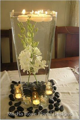 Center piece decor. Try using silk flowers and artificial water for half of the vase to keep the silk flowers standing straight. Then fill the remaining with water for the floating candles.