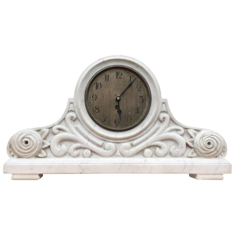 Early 1900 Italy Arts And Crafts White Carrara Marble Mantel Clock Floral Design Mantel Clock Clock Marble Clock