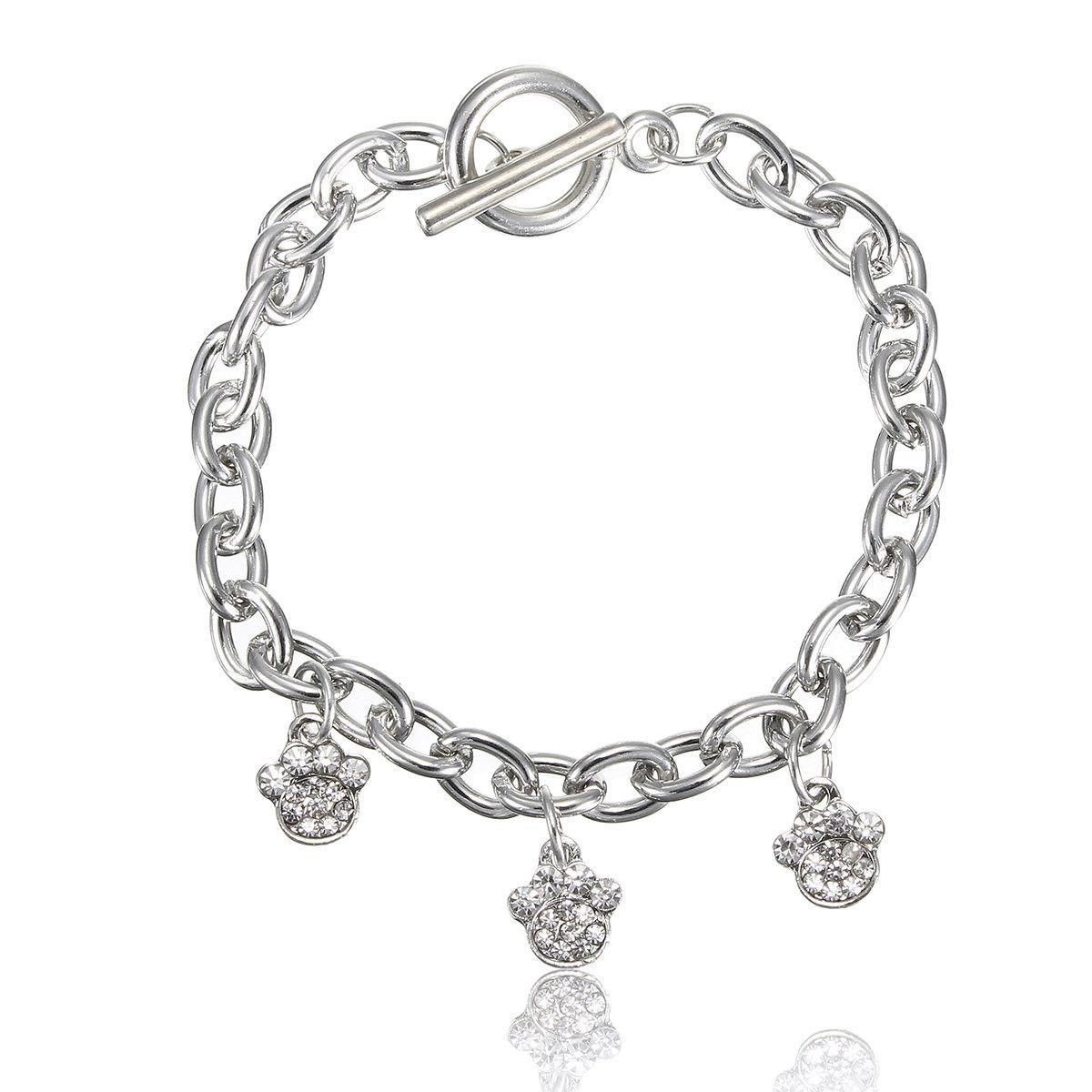 Three Animal Paws Rhinestone Pendant Bracelet