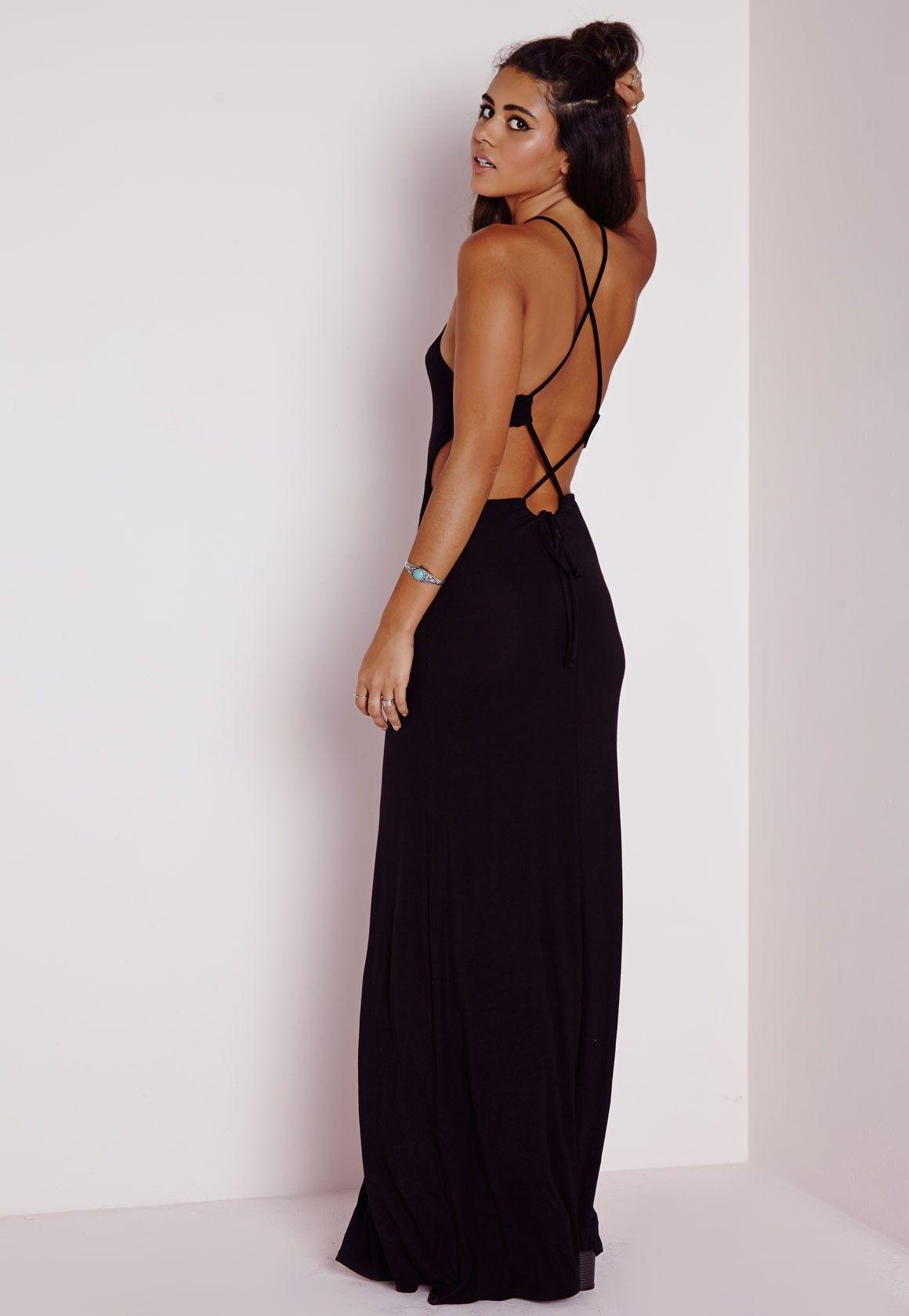 Back Strap Detail Maxi Dress Black - Dresses - Maxi Dresses ...
