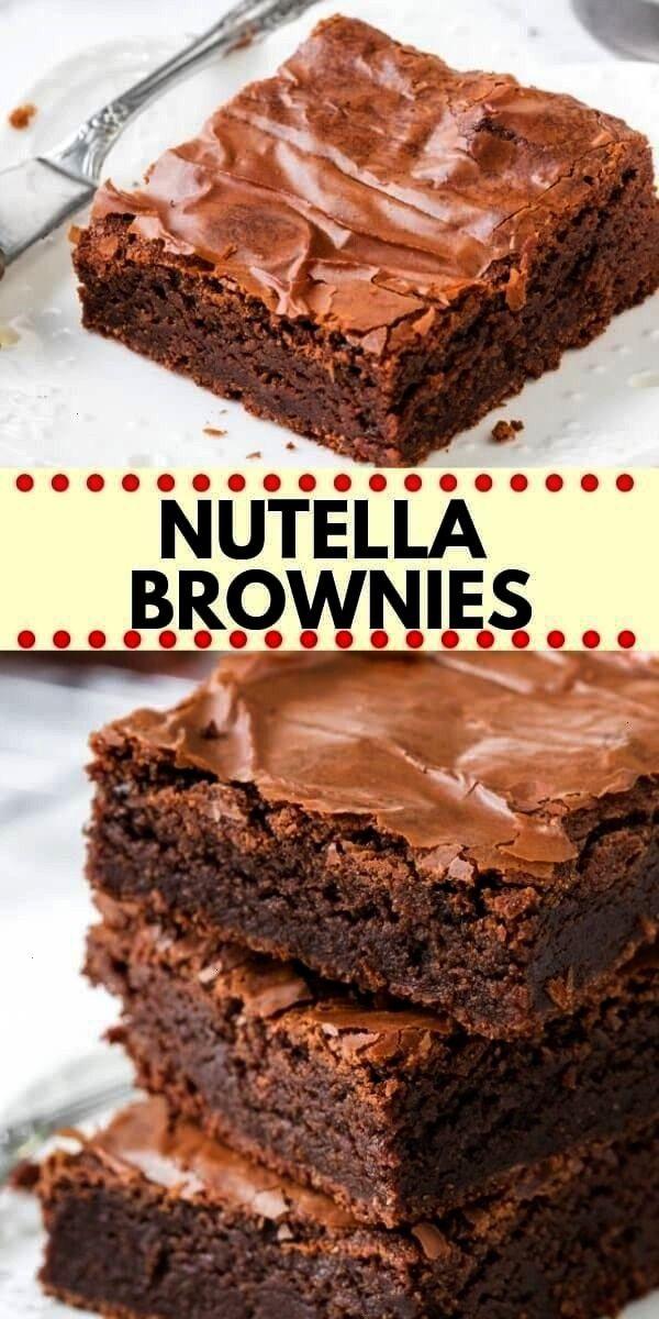 Nutella Brownies sind fudgy, klebrig und perfekt schokoladig. Sie haben... -Diese einfachen Nutella