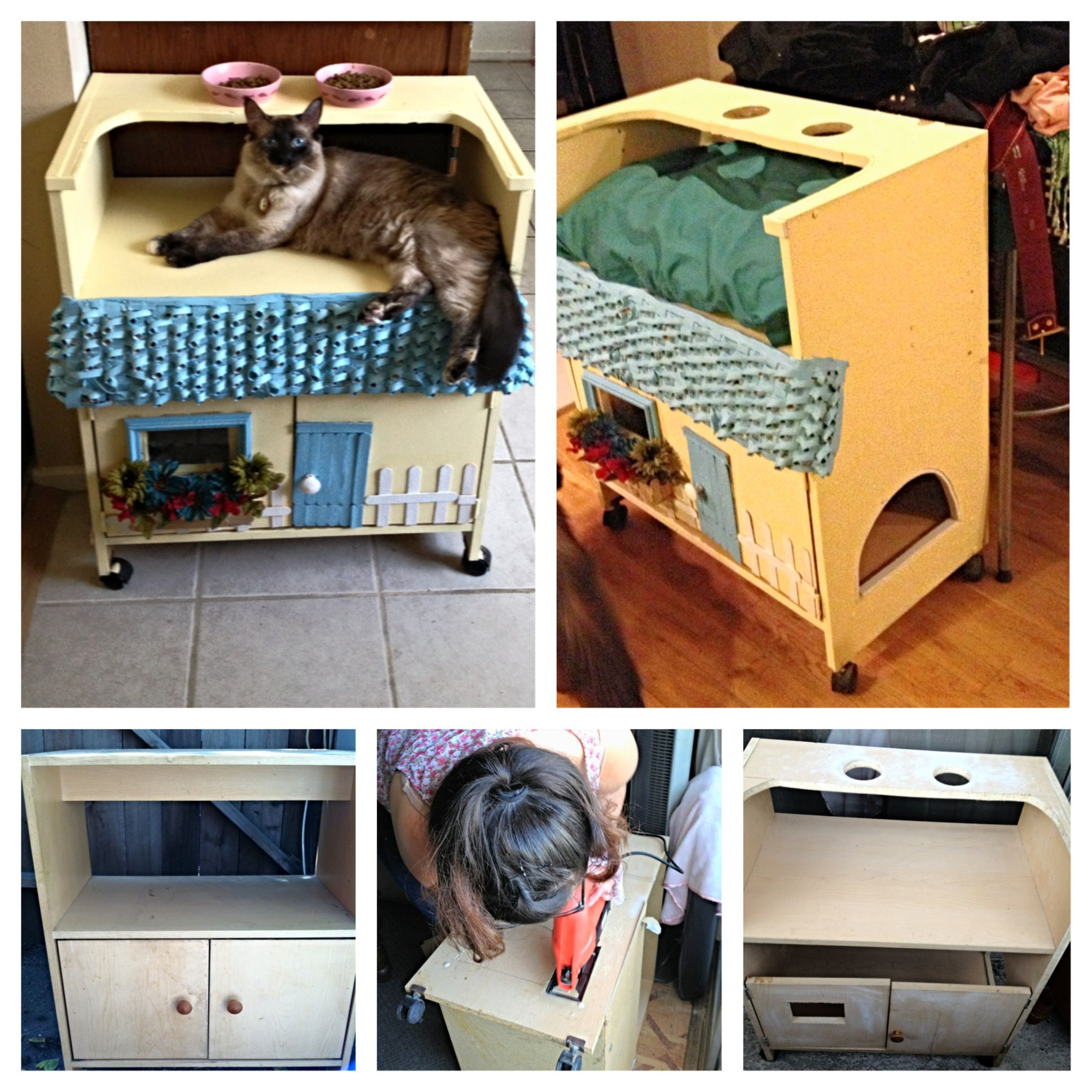 DIY cat furniture! Litter box cover and feeding area.