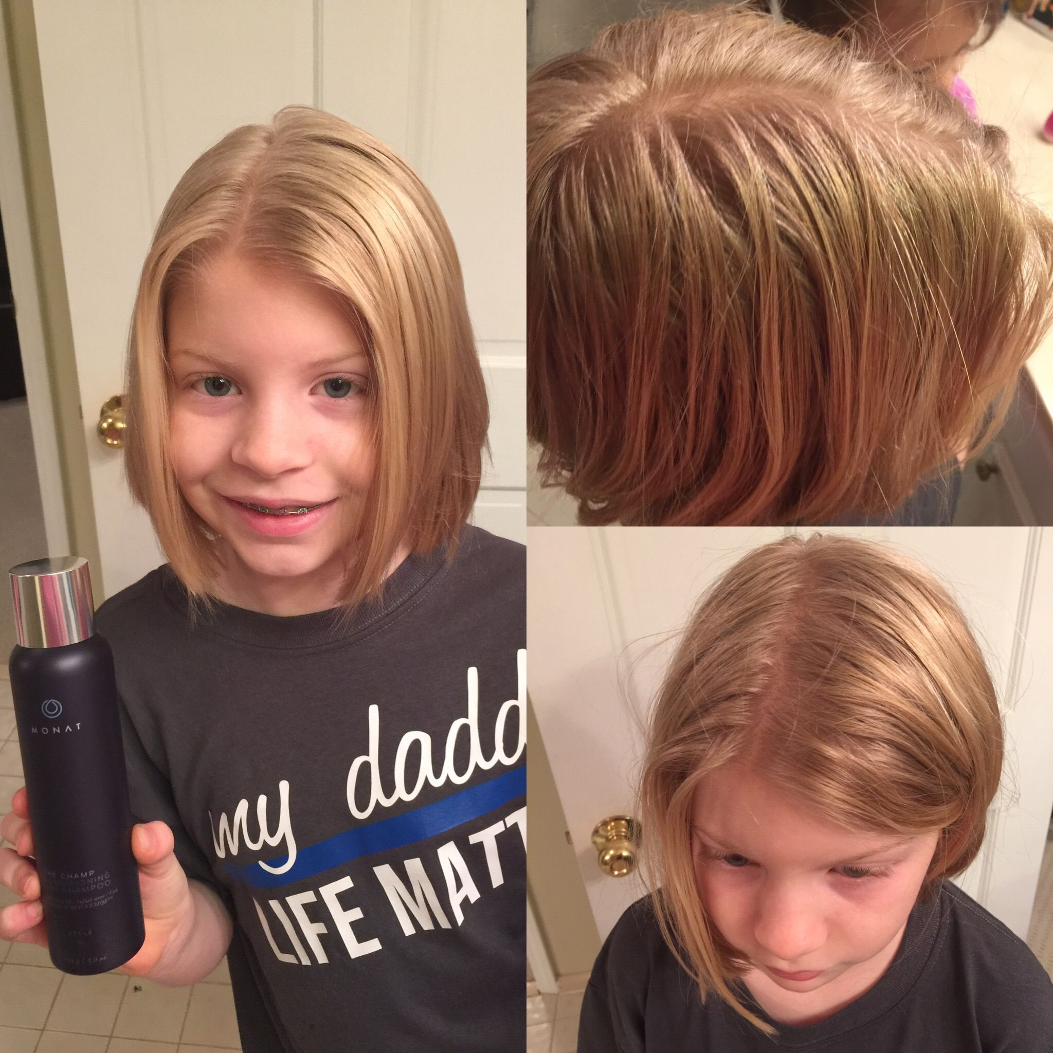 Before and After using Monat's dry shampoo. After pic is