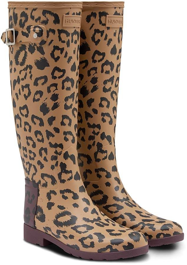 9a92becbc532 Hunter Leopard Print Refined Tall Rain Boot | Christmas wish list in ...