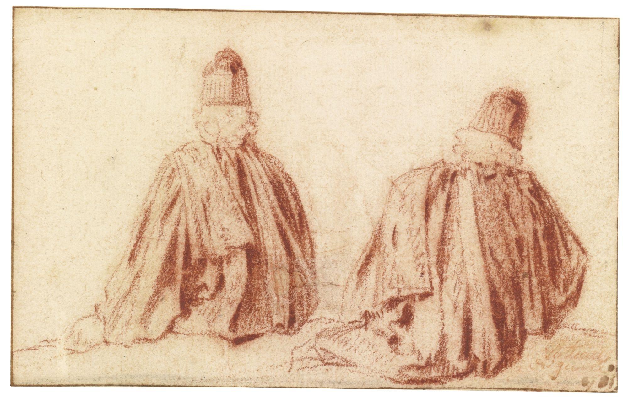 ATTRIBUTED TO JEAN ANTOINE WATTEAU     TUDIES OF A MAGISTRATE, SEEN FROM BEHIND 9.jpg (2000×1278)