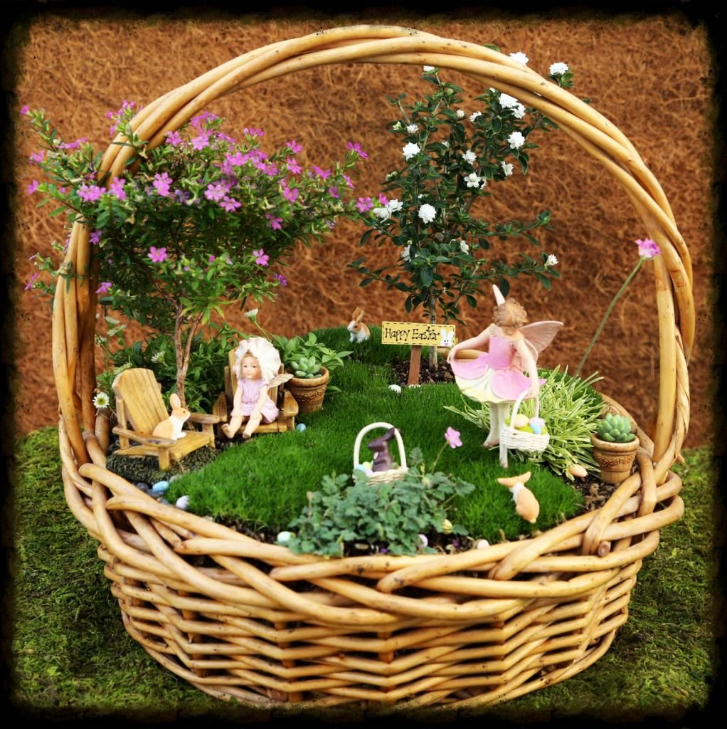 Edible Landscaping And Fairy Gardens: Easter Fairy Basket Garden, Fairy Garden, Miniature Garden