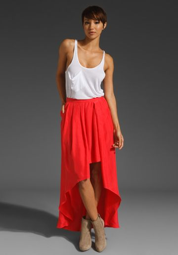 new obsession: hi lo skirts. just like everyone else. {FUNKTIONAL Doppler Skirt in Poppy, $167}