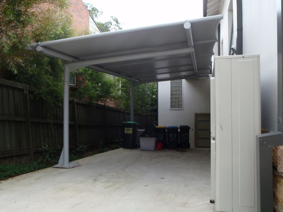 Cantilevered Carport Awning With Poles Only One Side Outrigger